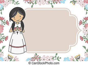 Communion Card Girl praying with flowers background