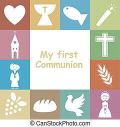 communion, carte, premier, invitation