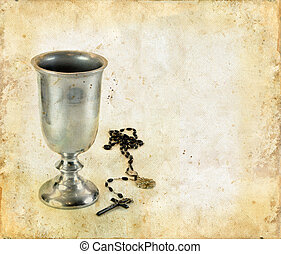 Communion Chalice and Rosary - Chalice for communion and a...