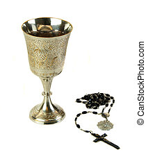 Communion Chalice with Rosary - Ornate communion cup with a...
