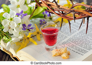 Communion cup with wine and bread