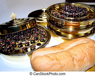 Bread and wine ready for communion