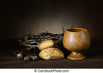 Communion Elements with Crown of Thorns and Nails