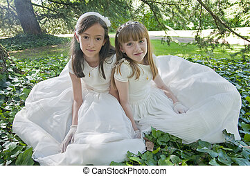 Communion Girls - girls white dress the day of their first...
