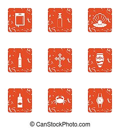Communion icons set, grunge style - Communion icons set....