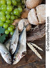 communion, pain, à, fish, et, raisins