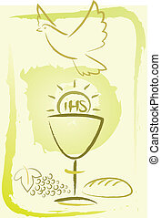 communion, -, saint, fond