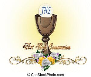 communion, saint, fond, invitation