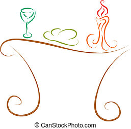 communion table, traditional Christian symbols illustration