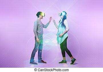 communiquer, amour, virtuel, couple, utilisation, headset., réalité