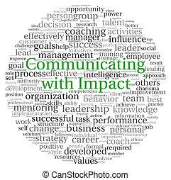 communiquer, concept, dans, mot, étiquette, nuage