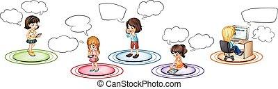 communiquer, différent, par, enfants, appareils