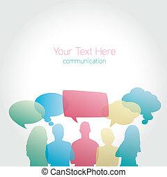 communiquer, gens, social, vecteur