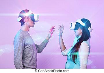 communiquer, réalité, utilisation, virtuel, headset., amour, couple