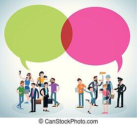 communiquer, vecteur, gens