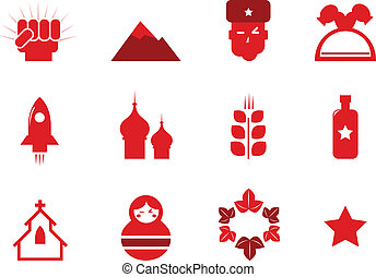 Communism and russia icons set isolated on white ( red ) -...