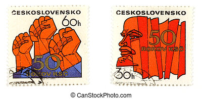 Communism concepts from Czechoslovakia - Collectible stamps...