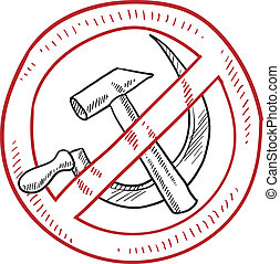 "Doodle style ""Just say no to Communism and Socialism"" hammer and sickle illustration in vector format."