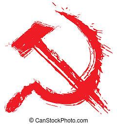 Illustration of communism symbol created in grunge style