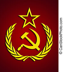 Communism symbol over dark-red background