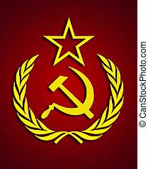 Communism symbol over dark-red background