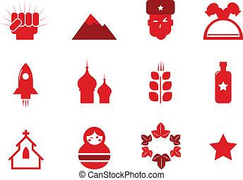 communisme, en, rusland, iconen, set, vrijstaand, op wit, (, rood, )