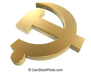 golden communist party symbol isolated on white background