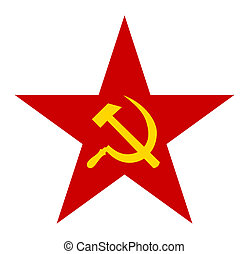 Hammer and sickle sign on red communist star, isolated on white background.