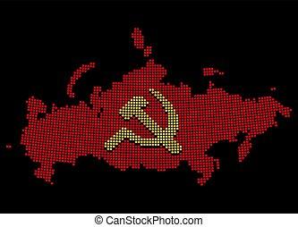 communiste, pixelated, urss, carte