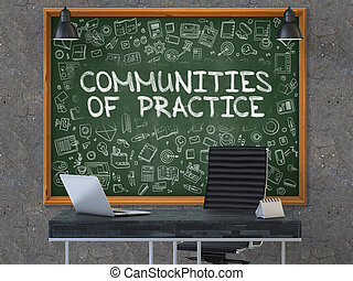Communities of Practice Concept. Doodle Icons on Chalkboard.