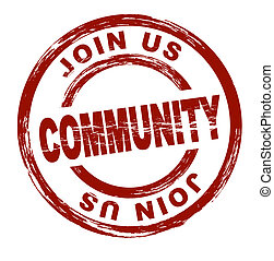 Community - A stylized red stamp showing the term community....