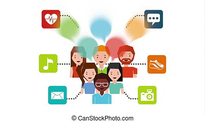 community and social media marketing icons , hd video...