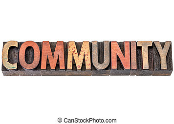community banner in wood type