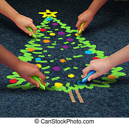 Community Christmas concept as a group of multicultural...