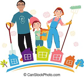 Family participating in a community clean-up event, EPS 8 vector illustration