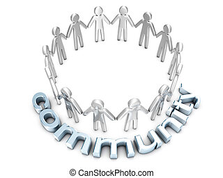 Community concept. A group of icon people standing in a circle.