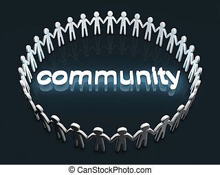 Community concept. A group of icon people standing in a ...