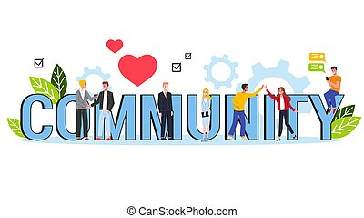 Community concept. Single word banner. Idea of social communication and togetherness. Group of people and team. Isolated flat illustration vector