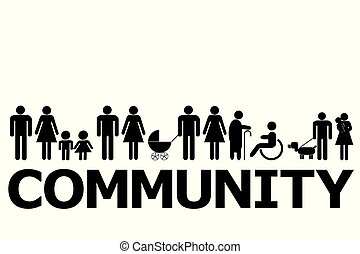 Community concept with people pictograms