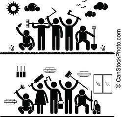 Community Effort Humanity Volunteer - A set of pictograms...