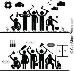 Community Effort Humanity Volunteer - A set of pictograms...