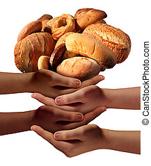 Community feed the poor assistance concept with a group of charitable hands representing diverse groups of people cooperating together to provide bread or food to the hungry and needy of society.