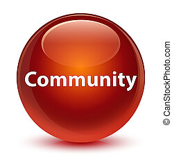 Community glassy brown round button