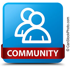 Community (group icon) cyan blue square button red ribbon in middle
