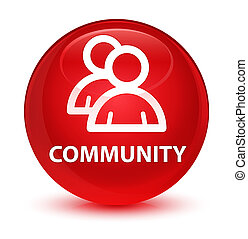 Community (group icon) glassy red round button