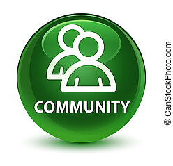 Community (group icon) glassy soft green round button