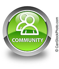 Community (group icon) glossy green round button
