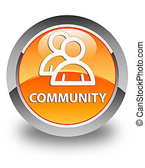 Community (group icon) glossy orange round button