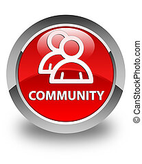 Community (group icon) glossy red round button