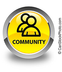 Community (group icon) glossy yellow round button